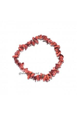 Red Jasper Gemstone Chips Bracelet