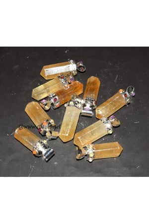 Honey Calcite 7 Chakra Point Pendant